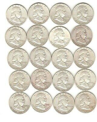 Tubed 20 Coin Franklin Us 90% Silver Half Dollar Roll 1950-1963-D ++ Investment!