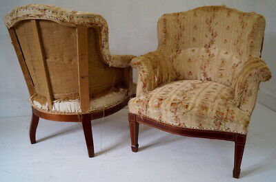 Pair of French Antique Armchairs inc Reupholstery (exc. fabric)
