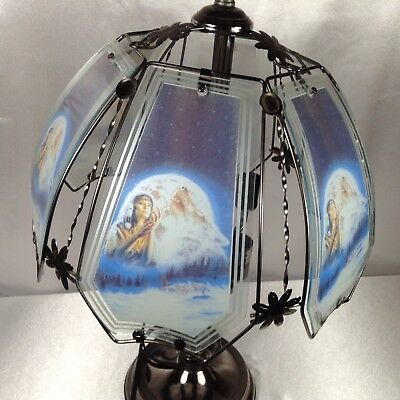 "Coyote Wolf Moon Woman Stained Glass Lamp Shade Unique Floral Metal 13.5"" EUC"