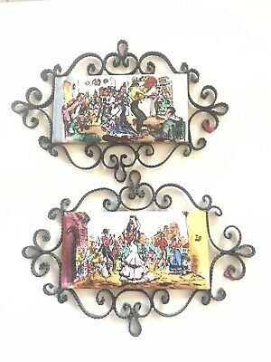 Vintage Spanish Tile Flamenco Dancers Iron Rod Border 1960s - Set of 2 Art tile