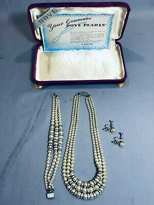 Vintage Art Deco Dove Simulated Pearl Necklace, Bracelet & Earrings With Box