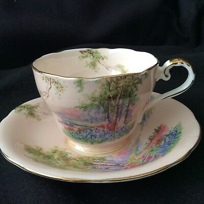 Aynsley Cup and Saucer Set, Pink  with English Meadow Scene, Gold Trim