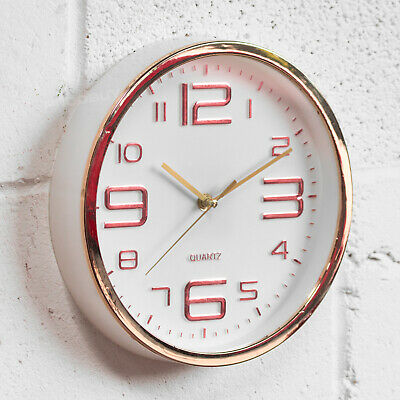 Rose Gold Copper 25cm Wall Clock Round Modern Kitchen Basic Quartz Stylish Gift