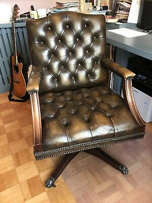 Brown leather Swivel Captains Chair Chesterfield Style