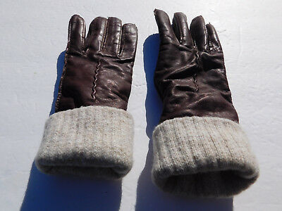 *Designer Ladies 2 In 1 Brown Leather Beige Wool Knit Winter Gloves  Size Small