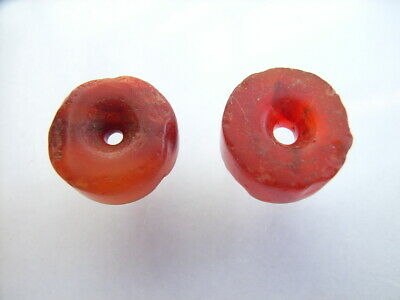 2 Ancient Neolithic Carnelian Beads, Stone Age, RARE !!  TOP !!