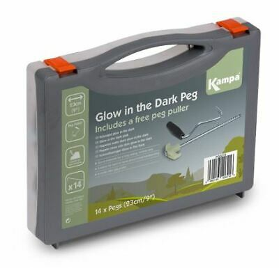 Kampa Glow In The Dark Steel Screw Peg 1 + tent peg puller