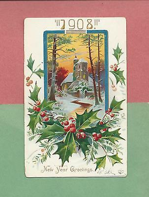 COTTAGE IN WINTER On Beautiful TUCK Vintage 1908 Year Date NEW YEAR Postcard