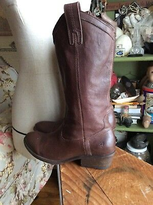 Frye Chocolate Brown Dark Supple Leather Pull On Boots Size 6 1/2