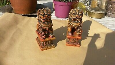 Vintage Pair Of Chinese Red Cinnabar Style Resin Foo / Temple Dogs - 13cm tall