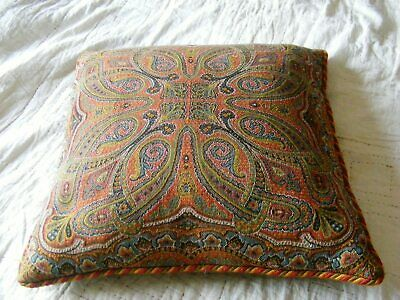 Antique paisley wool fabric cushion from shawl feather filled silk braid edge