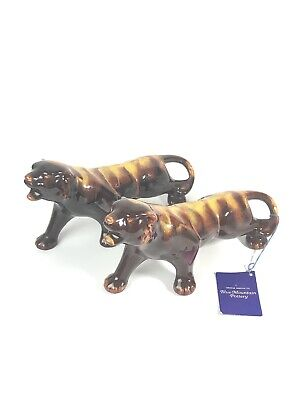Pair Of (2) Matching Blue Mountain Pottery Brown And Gold Tigers