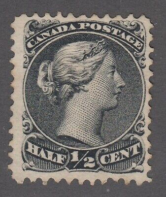 "Canada MINT NG Scott #21  1/2 cent black ""Large Queen""   F"