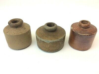 Lot of 3 Antique Old Brown Glaze Stoneware Inkwells Bottle Collection Used