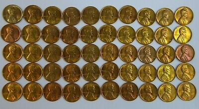 1960 P Small Date Roll Of 50 Pieces BU Red / Red & Brn - LINCOLN MEMORIAL CENTS