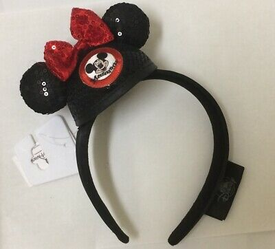 BNWT Disney Parks Mickey Mouse Clubhouse Minnie Sequined Bow Ears Headband Black
