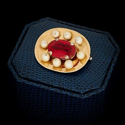 Antique Vintage Art Deco 18k Yellow Gold Akoya Pearl & Red Sapphire Pin Brooch