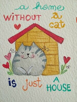 original watercolor ACEO- happy cat cats quote 3