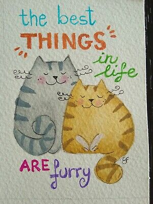original watercolor ACEO- happy cat cats quote 2