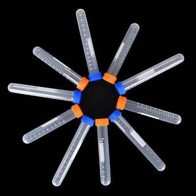 10pc Centrifuge tube plastic testtube flat socket cap round bottom sample boXBUK