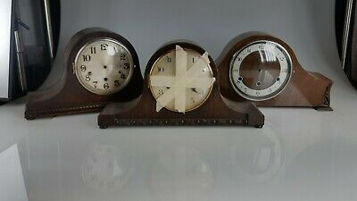3 Art Deco Napoleon Hat  Mantle Clock case Spares Or Repairs