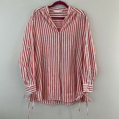 d3aa8f3ecb Zara Striped Tunic Shirt Dress Lace Up Tie Sides Red White Large L Long  Sleeve