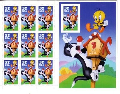 #3205 SYLVESTER & TWEETY SHEET 10th STAMP IMPERF  LOONEY TUNES MNH