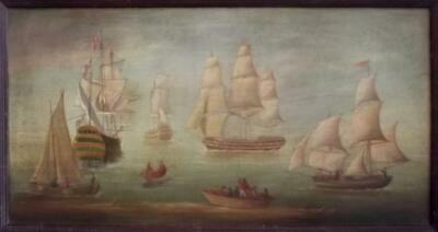 Antique 19th Century BRITISH PRIMITIVE Seascape Oil Painting SHIPPING IN A CALM
