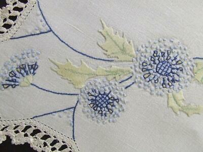 Gorgeous Blue Florals - Hand Embroidered Vintage Centre - Crocheted Edging