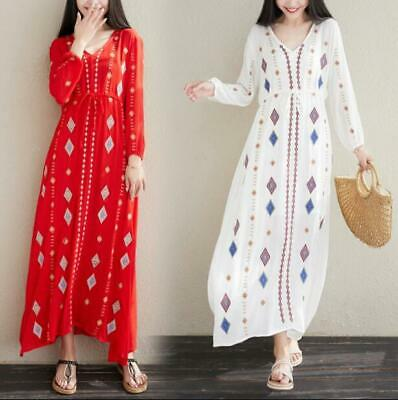 Summer New bohemian Women Vintage Embroidered Cotton Linen Large Size Long Dress