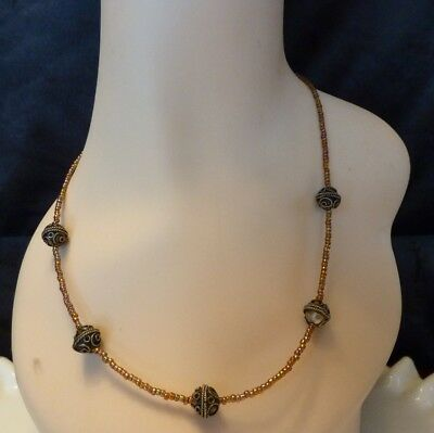 Vintage Glass Micro Bead Metal Ball Necklace Beaded 3-D Steampunk Necklace EUC
