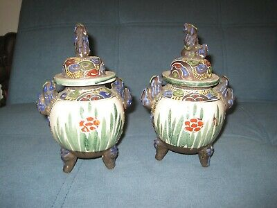 VINTAGE CHINESE LIDDED URNS PAIR FOO DOGS FLOWERS FIGURES FOOTED 19cm HIGH