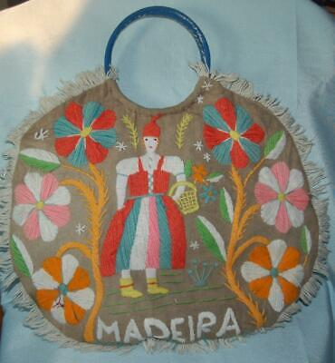 Vintage Beach Bag Madeira Fabric Hand Embroidered in Wool Floral Folk Art c1950s