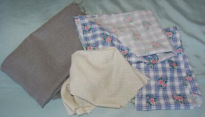 Vintage Fabric Scraps & Vyella Floral Spotty Blue Pink White Grey Plain c1950-60