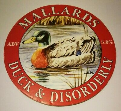 MALLARDs brewery DUCK & DISORDERLY cask ale beer badge pump clip front Notts