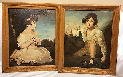 VIntage 60s Paint By Number Completed Artwork Boy and Rabbit Raeburn PBN