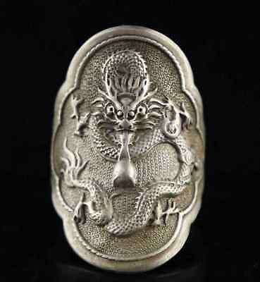 Collect Qianlong Years Tibet Silver Carve Myth Dragon Unique Exorcism Decor Ring