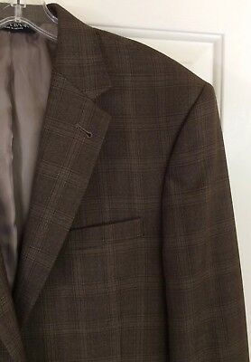 Jos. A. Bank Men's Two Button Brown Plaid Wool Sport Coat Blazer Jacket Size 41L