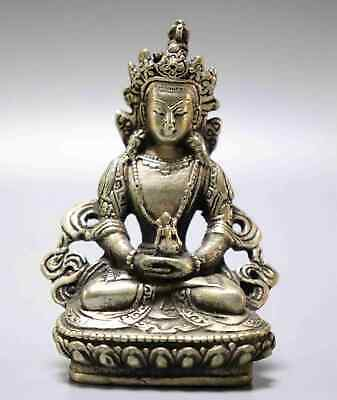 Collect China Old Tibet Silver Carve Buddhism Buddharupa Exorcism Lucky Statue