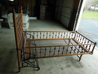 Antique Early Wooden Fold Up Youth Child Bed Spindle Style Cast Iron Rails Nice!