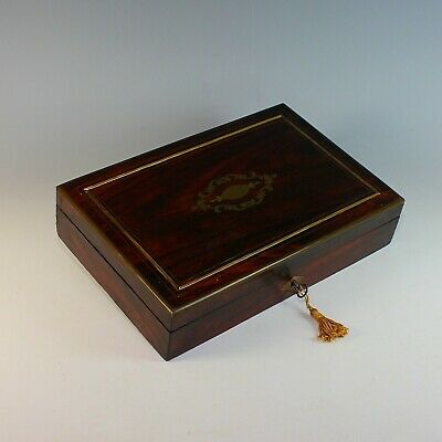 Antique French Inlaid Wood Dresser Box with Key