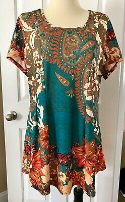 b4746a994da Zulily Tunic Top Teal Brown Paisley Floral Size 2X 20W Lily By Firmiana