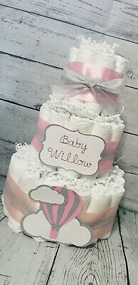 3 Tier Diaper Cake - Hot Air Balloon Diaper Cake Baby Girl / Pink and Silver