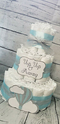 3 Tier Diaper Cake - Hot Air Balloon Diaper Cake Baby Girl / Blue and Silver