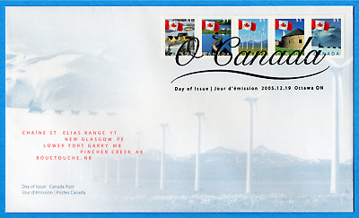 2005 Canada FDC First Day Cover #2135-9 - O'Canada Flag Series