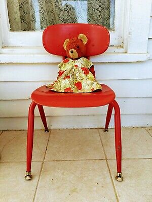 Vintage Mid century Primary School Child Chair Red Composition Seat