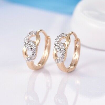 Charming Lady Wedding White Sapphire Crystal Gold Filled Infinity Hoop Earrings