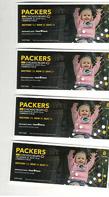4 Chicago Bears @ Green Bay Packers Tickets 12.15.19 HOT same seats as always
