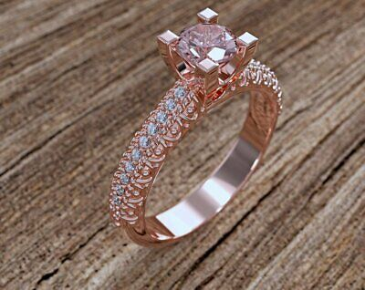 0.90Ct Round Cut Peach Morganite Engagement Wedding Ring In 14K Rose Gold Over