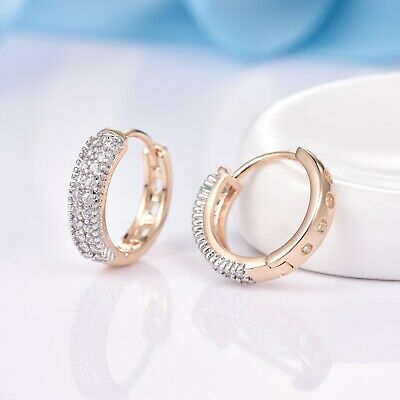 Gorgeous Women Bridal Dazzling White Sapphire Crystal Gold Filled Hoop Earrings